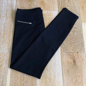 Black Stretch Ponte Pant/Legging Silver Zips NWT